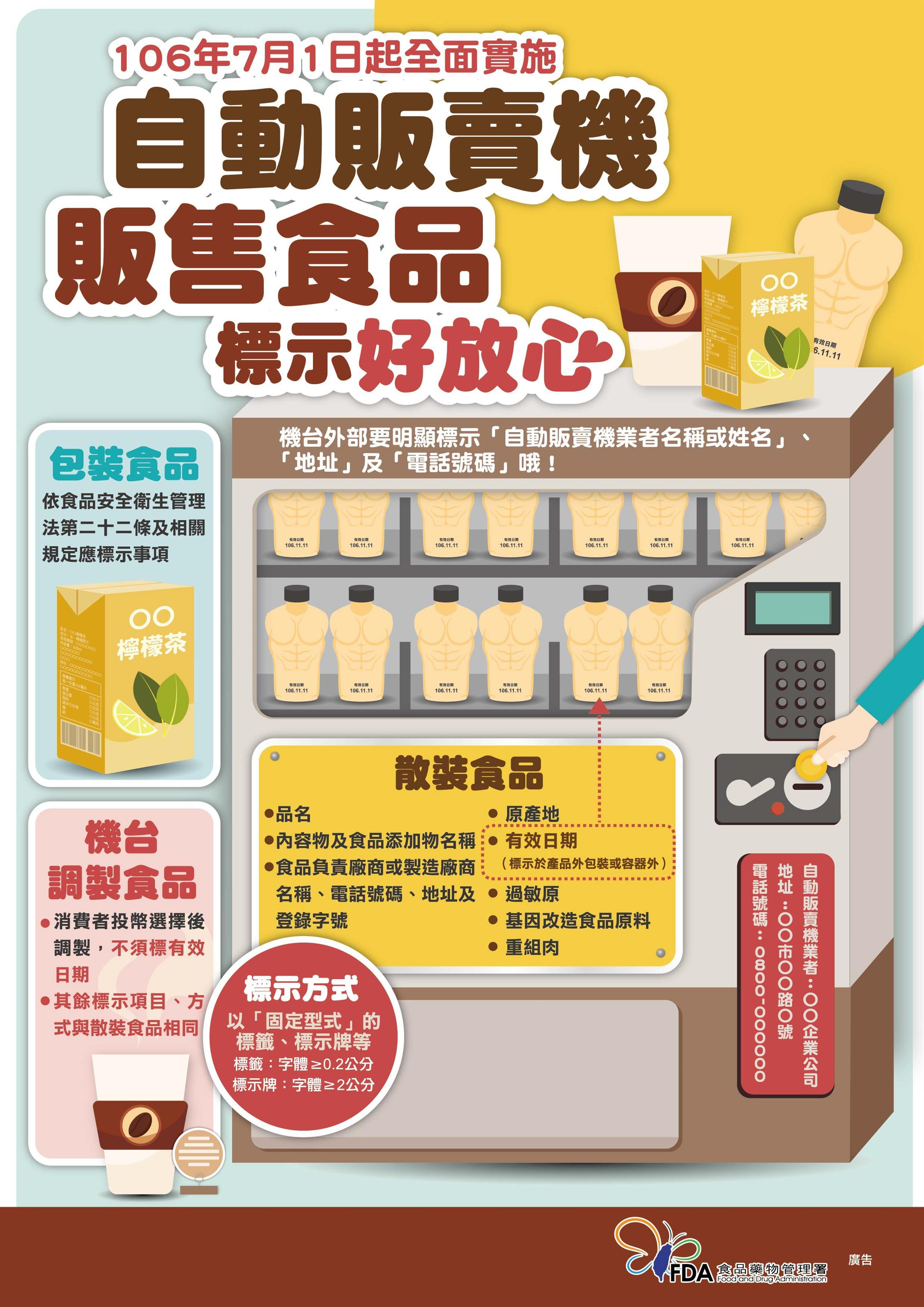106年7月1日起全面實施 自動販賣機 販售食品標示好放心